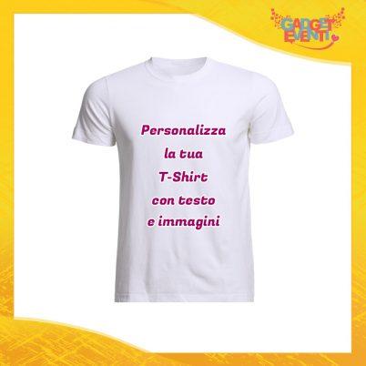 T-Shirt Uomo Maglietta Bianca Personalizzata con Nome Foto Immagini Testo o Frasi Gadget Eventi