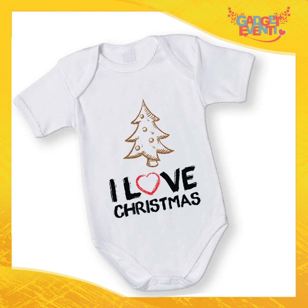"""Body Neonato Bodino Natalizio """"Albero I Love Christmas"""" Gadget Eventi"""