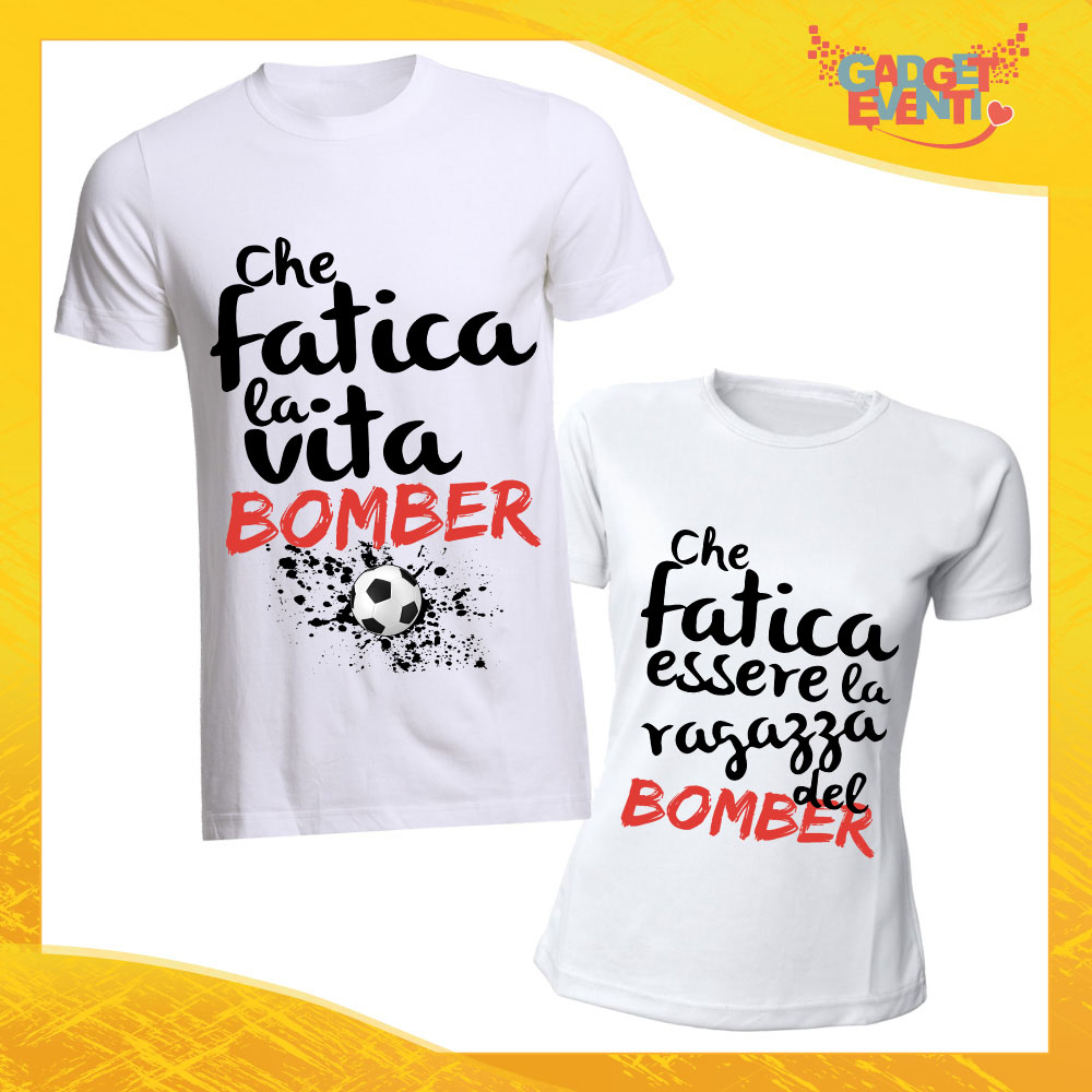 "T-Shirt Coppia Maglietta Bianca ""Vita da Bomber"" Gadget Eventi"