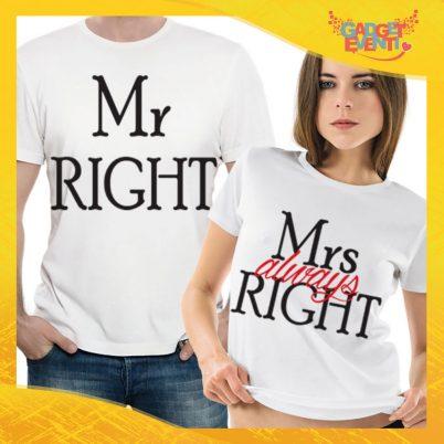 """T-Shirt Coppia Maglietta """"Mr and Mrs Right"""" Gadget Eventi"""