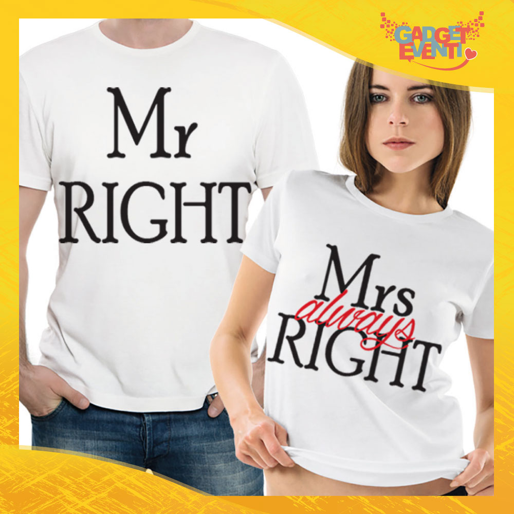 "T-Shirt Coppia Maglietta ""Mr and Mrs Right"" Gadget Eventi"
