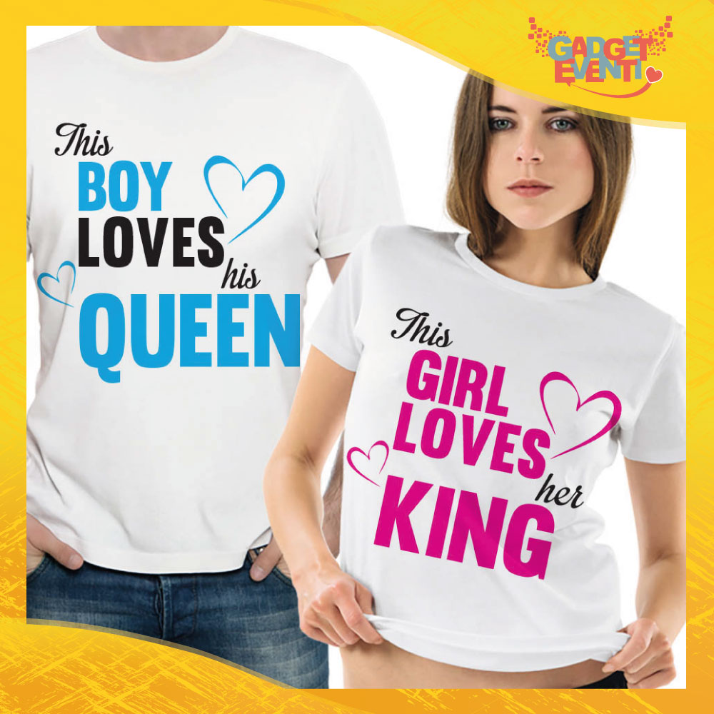 "T-Shirt Coppia Maglietta ""This boy loves his queen"" Gadget Eventi"