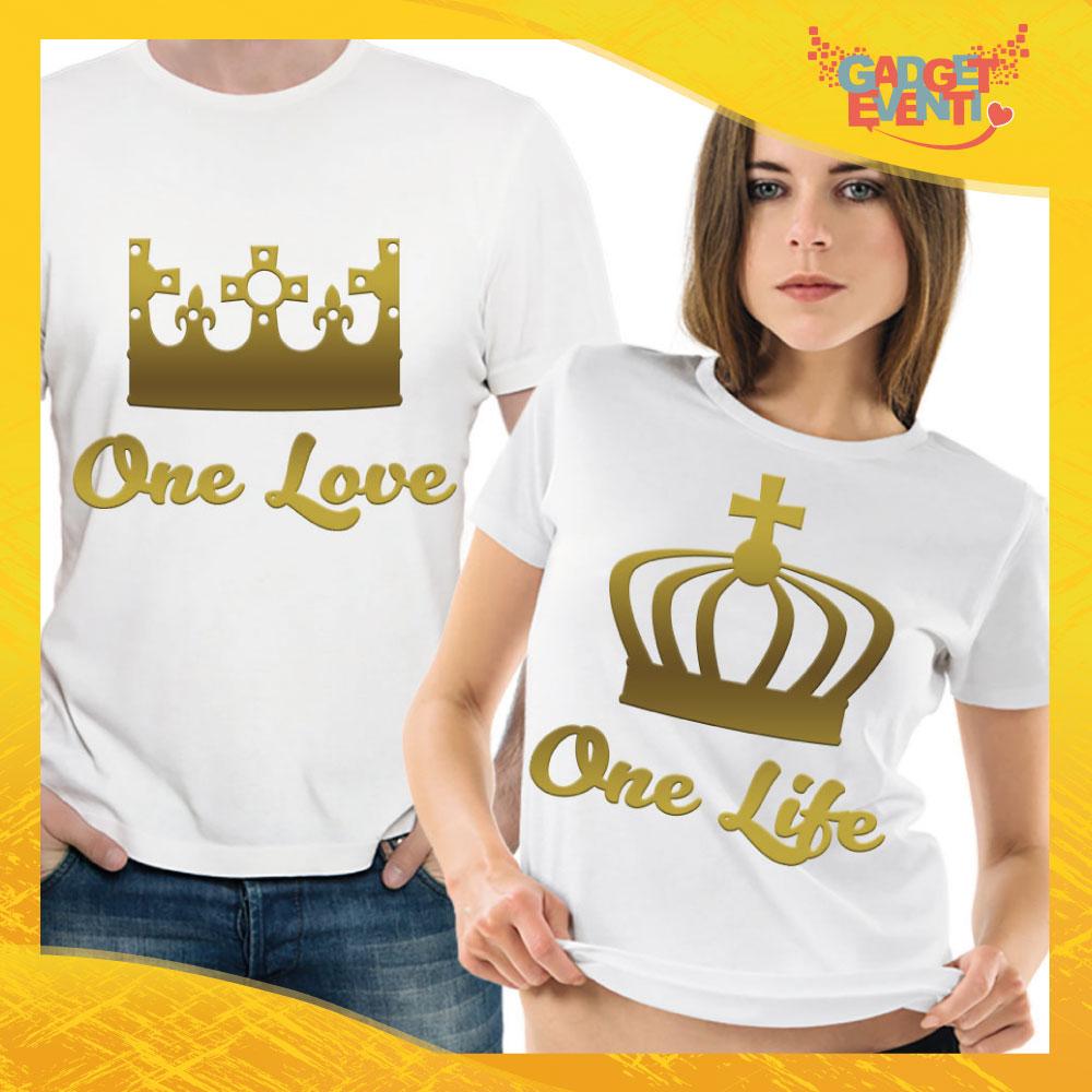 """T-Shirt Coppia Maglietta """"One Love Corona Oro"""" Gadget Eventi"""