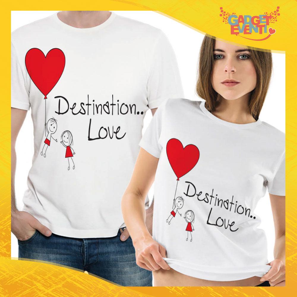 """T-Shirt Coppia Maglietta """"Destination Love"""" Gadget Eventi"""
