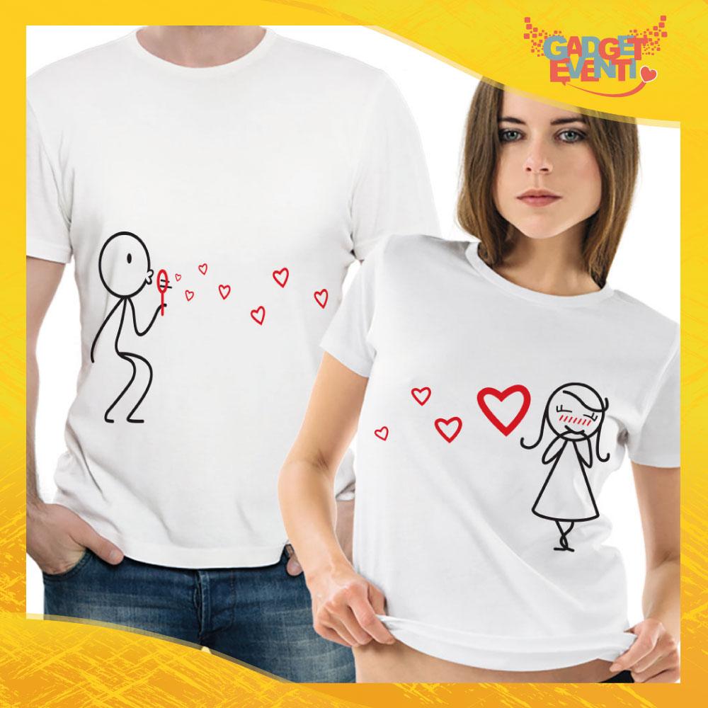 """T-Shirt Coppia Maglietta """"Bolle di Sapone a Cuore"""" Gadget Eventi"""
