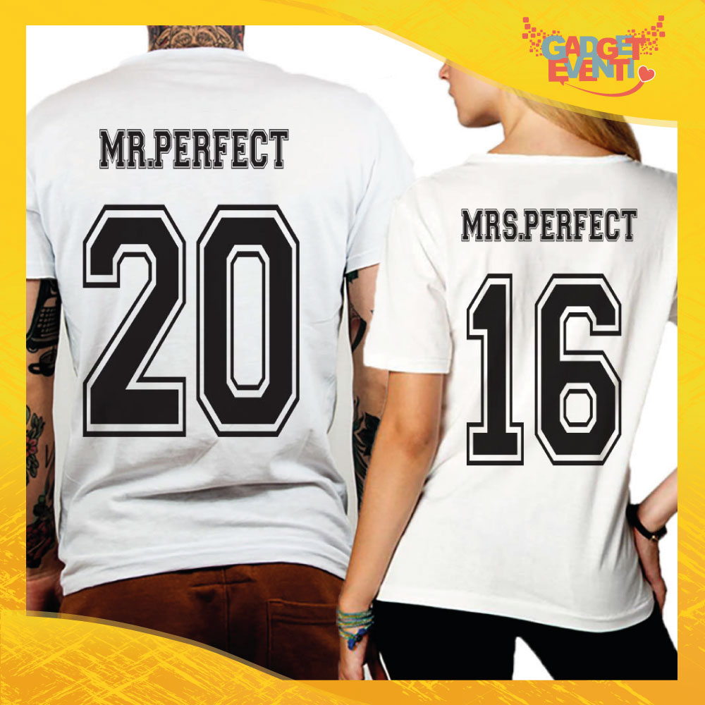 "T-Shirt Coppia Retro Maglietta ""Mr and Mrs Perfect"" Gadget Eventi"