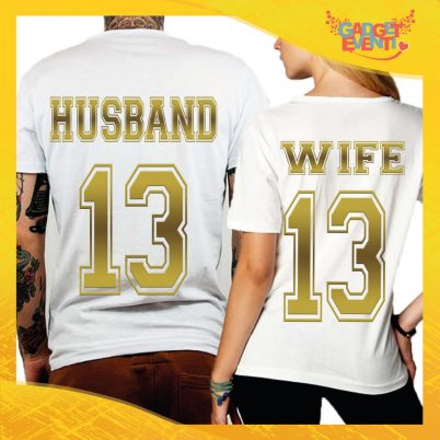 "T-Shirt Coppia Retro Maglietta ""Husband and Wife Oro"" Gadget Eventi"