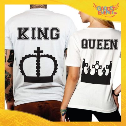 "T-Shirt Coppia Retro Maglietta ""King and Queen Corona"" Gadget Eventi"