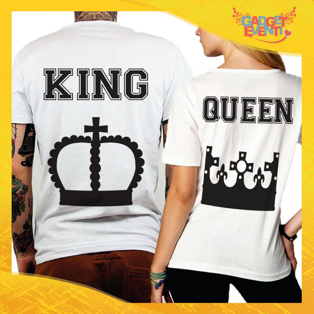 """T-Shirt Coppia Retro Maglietta """"King and Queen Corona"""" Gadget Eventi"""