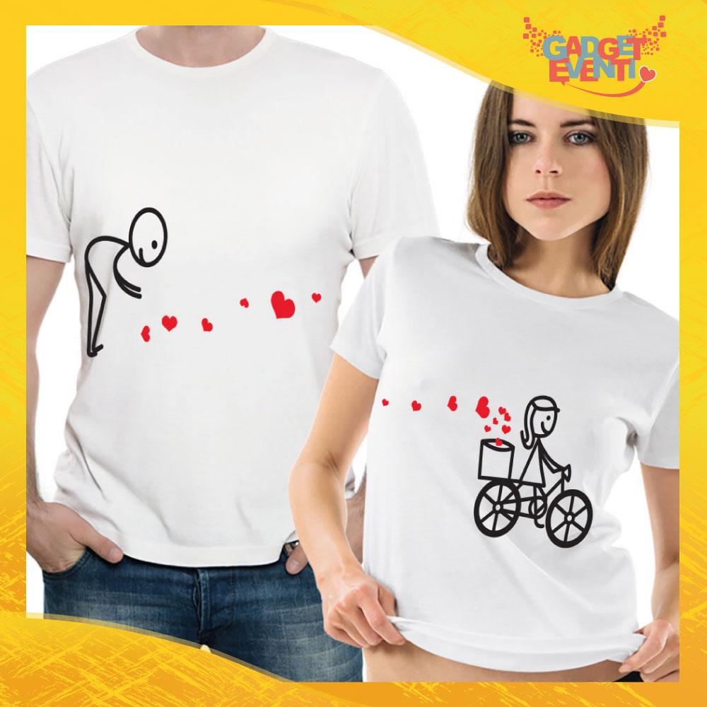 """T-Shirt Coppia Maglietta """"Raccogli Cuori"""" Gadget Eventi"""