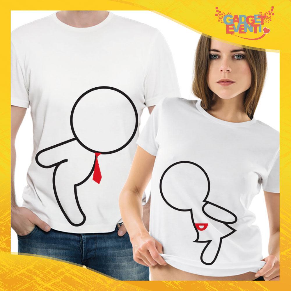 """T-Shirt Coppia Maglietta """"Omini Bacio"""" Gadget Eventi"""