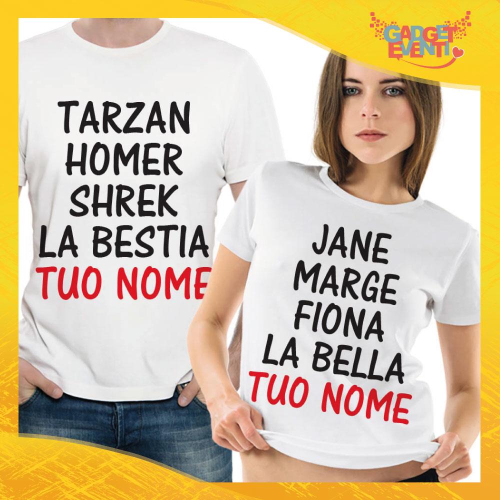 """T-Shirt Coppia Maglietta """"Tarzan Homer Shrek La Bestia"""" Gadget Eventi"""