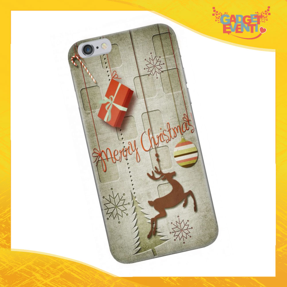 """Cover Smartphone Natale Cellulare Tablet """"Merry Christmas con renna"""" Gadget Eventi"""