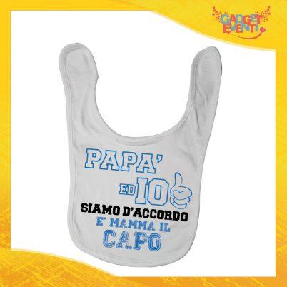 """Bavetto Bianco Maschietto Bavaglino Bimbo """"Papà ed io siamo d'accordo"""" Gadget Eventi"""