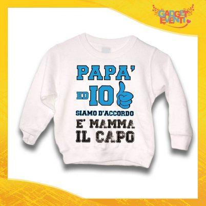 """Felpa Bianco Maschietto Bambino Baby """"È Mamma il Capo"""" Gadget Eventi"""