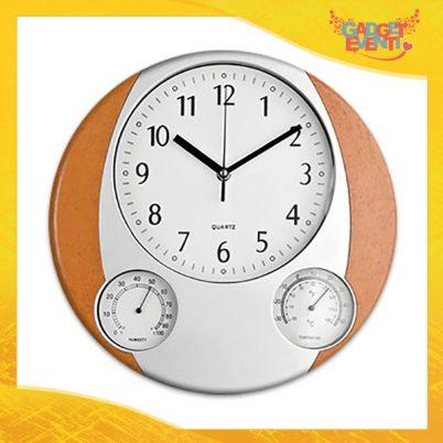 """Orologio a Parete effetto legno """"Master"""" termometro igrometro Gadget Eventi"""
