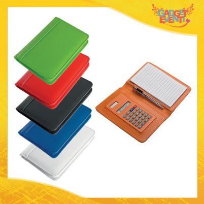 "Calcolatrice con Custodia ""Notice"" Block Notes Penna Gadget Eventi"