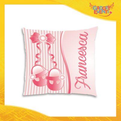 """Cuscino Bambino Baby Rosa con nome personalizzabile """"Scarpine"""" Gadget Eventi"""