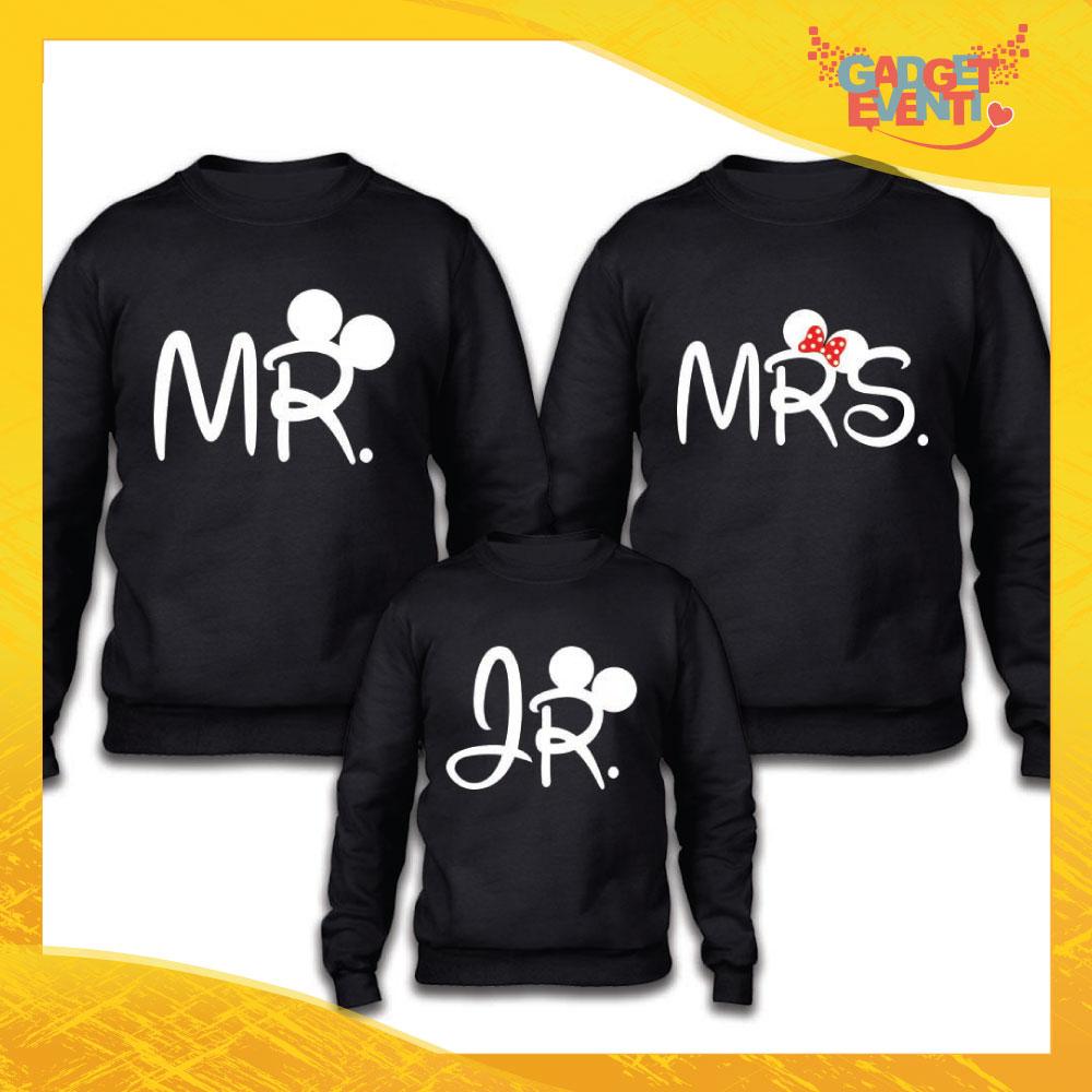 "Tris di Felpe Adulto Bimbo Famiglia ""Mr Mrs Jr Disney"" Gadget Eventi"
