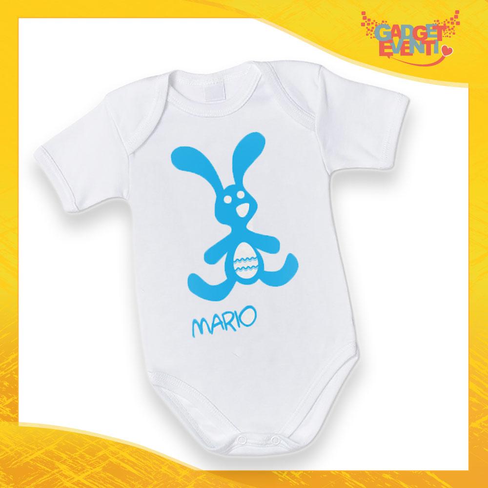 """Body Neonato Azzurro Bodino Bimbo """"Coniglio con Uovo"""" Pasqua Pasquale Gadget Eventi"""