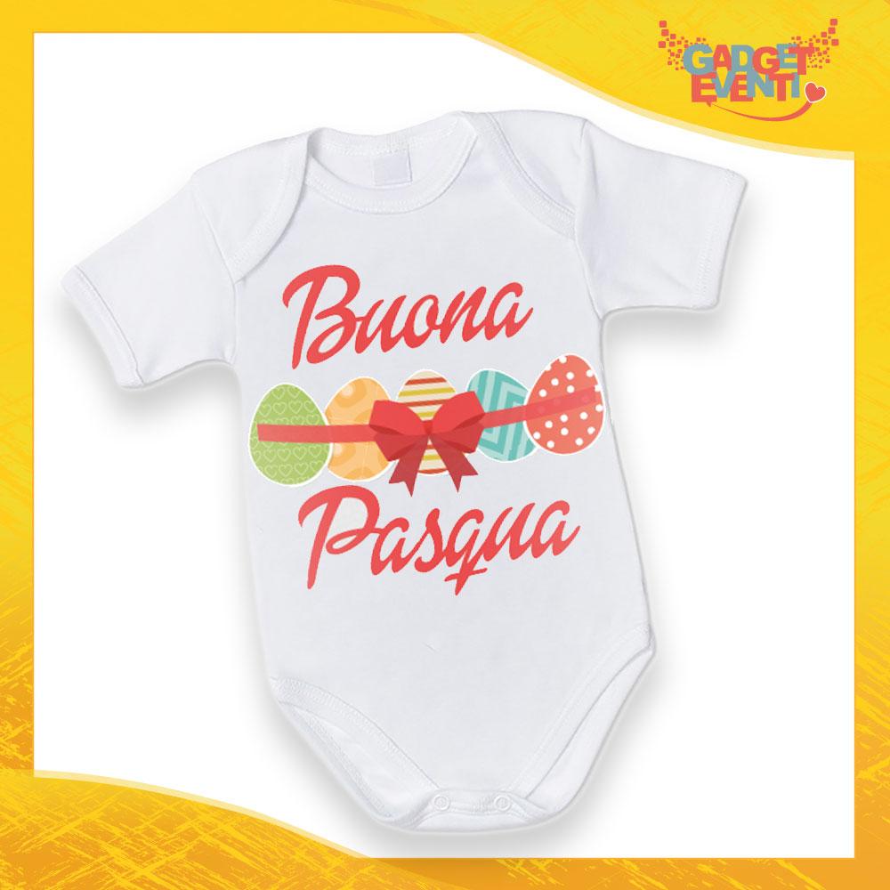 """Body Neonato Femminuccia Bodino Bimbo """"Buona Pasqua Uova"""" Pasqua Pasquale Gadget Eventi"""