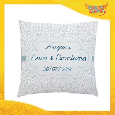 """Cuscino Quadrato Divano Letto Poltrona """"Auguri Nomi e Data"""" Gadget Eventi"""