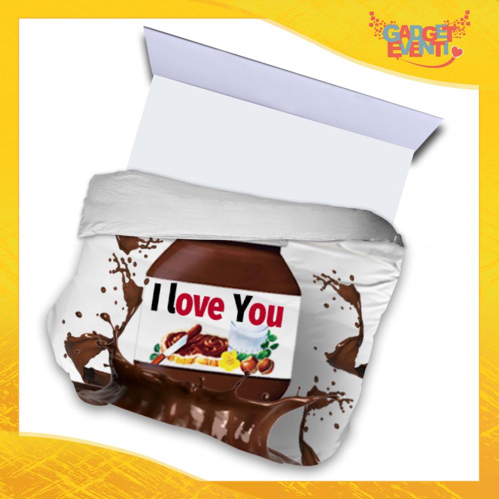 """Copripiumino Matrimoniale Biancheria da Letto """"I Love You Testuale Cioccolato"""" San Valentino Gadget Eventi"""