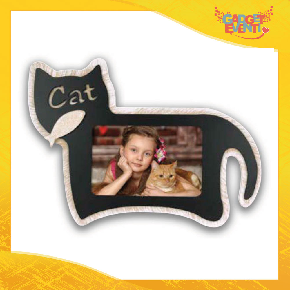 "Cornice Portafoto ""Black Cat"" Foto Regalo Gadget Eventi"