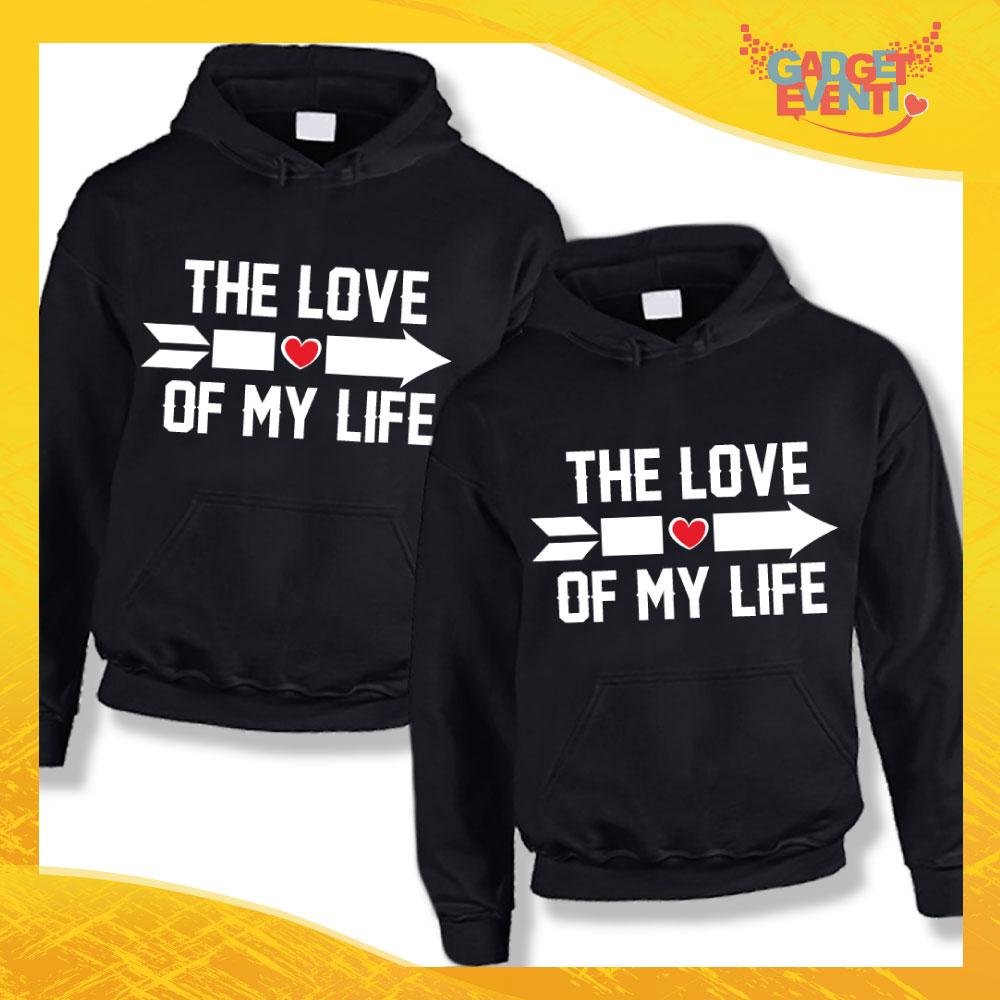 """Coppia di Felpe Nero Love """"Love of My Life"""" San Valentino Gadget Eventi"""