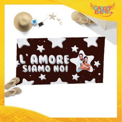 """Telo Mare Marrone Personalizzato """"L'Amore Siamo Noi Foto Personalizzata Stelline"""" San Valentino Gadget Eventi"""