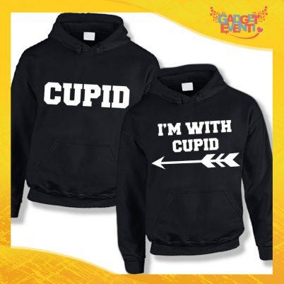 """Coppia di Felpe Nero Love """"I'm with Cupid"""" San Valentino Gadget Eventi"""