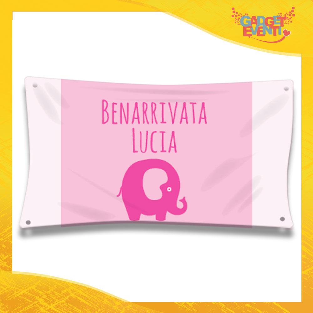 """Striscione Bambino Femminuccia Neonato """"Elefante"""" Baby Gadget Eventi"""
