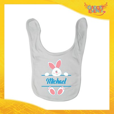 """Bavetto Bavaglino Bimbo Maschietto """"Coniglietto con Nome"""" idea regalo Pasqua Gadget Eventi"""