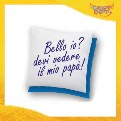 """Cuscino Quadrato Maschietto """"Bello Bella Io?"""" Idea Regalo Festa del Papà Gadget Eventi"""