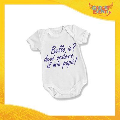 """Body Bimbo Maschietto Neonato Bodino """"Bello Bella Io?"""" Festa del Papà Idea Regalo Gadget Eventi"""