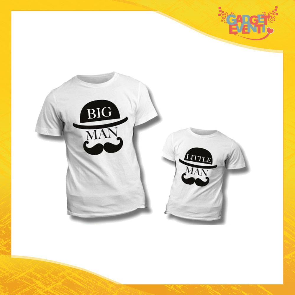 """Coppia di T-Shirt Bianche """"Big Little Man Cappello e Baffi"""" Maglietta Padre Figlio Maglia Idea Regalo Festa del Papà Gadget Eventi"""