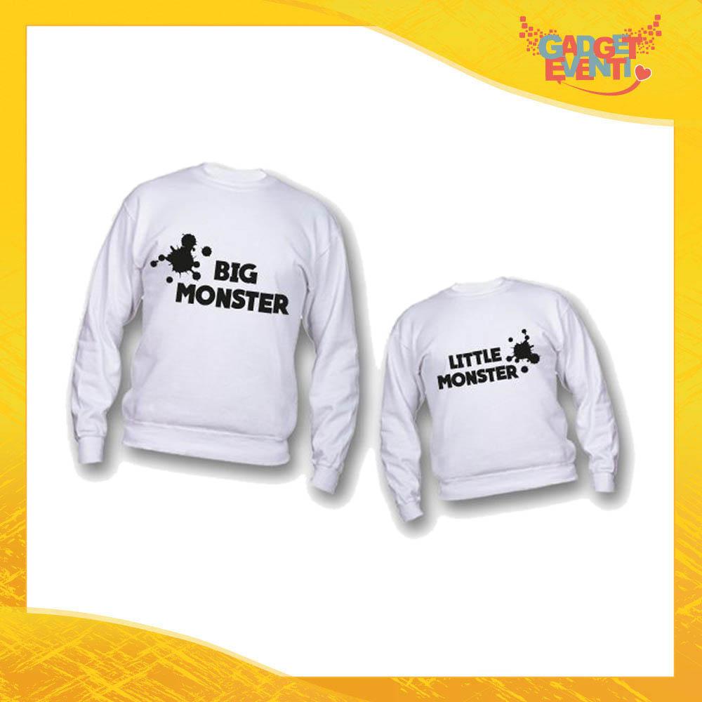 """Coppia di Felpe """"Big Little Monster"""" Padre Figlio Idea Regalo Festa del Papà Gadget Eventi"""