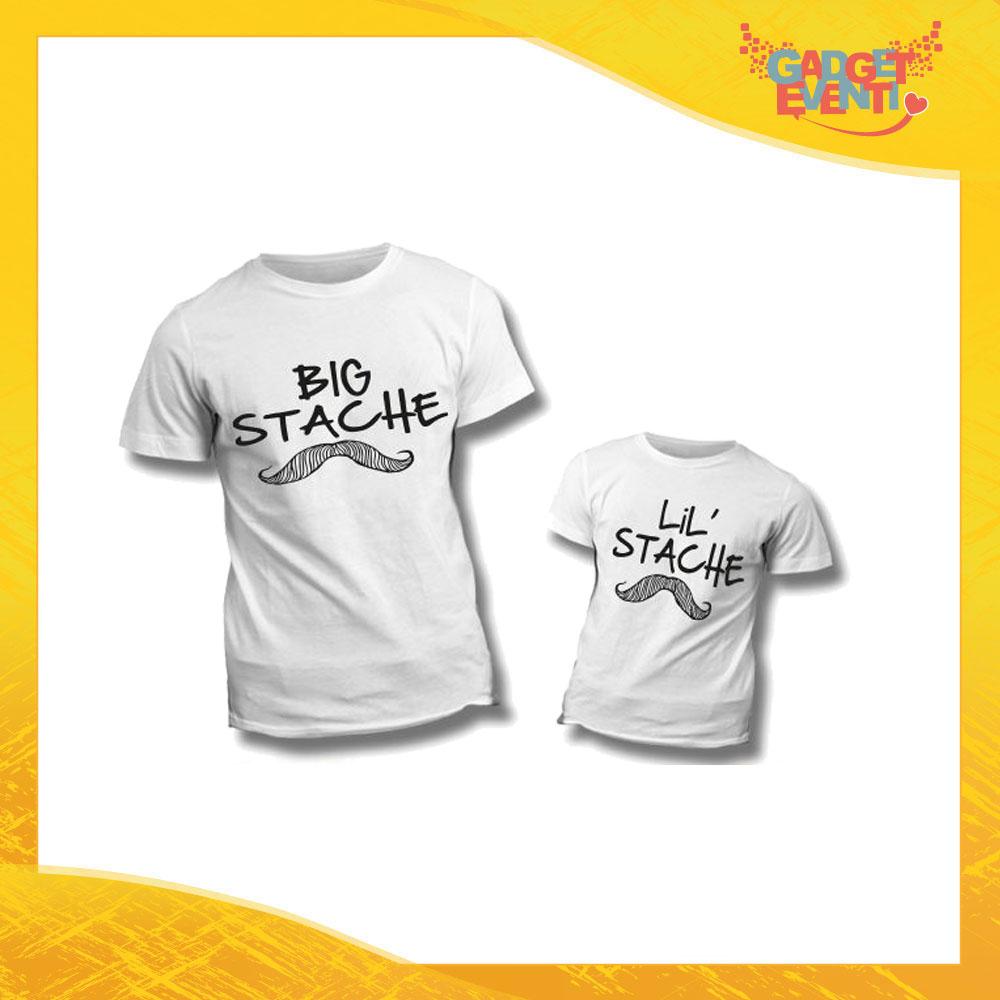 """Coppia di T-Shirt Bianche """"Big Little Stache"""" Maglietta Padre Figlio Maglia Idea Regalo Festa del Papà Gadget Eventi"""