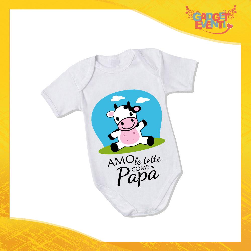 """Body Bimbo Neonato Bodino """"Amo le tette come Papà"""" Festa del Papà Idea Regalo Gadget Eventi"""