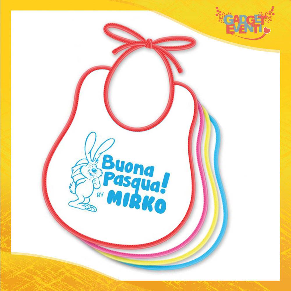 """Bavetto Bavaglino Bimbo Maschietto """"Buona Pasqua Coniglio"""" idea regalo Pasqua Gadget Eventi"""