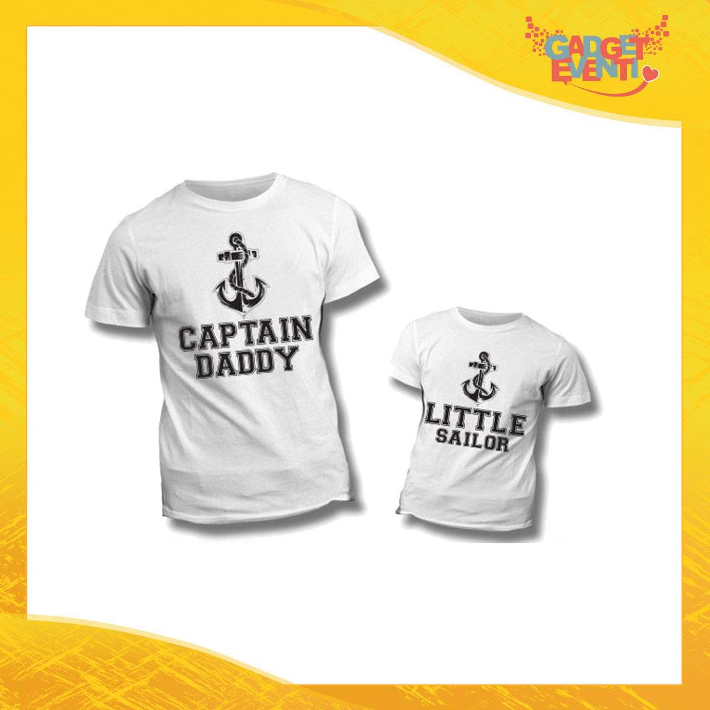 """Coppia di T-Shirt """"Captain Daddy Little Sailor"""" Maglietta Padre Figlio Maglia Idea Regalo Festa del Papà Gadget Eventi"""