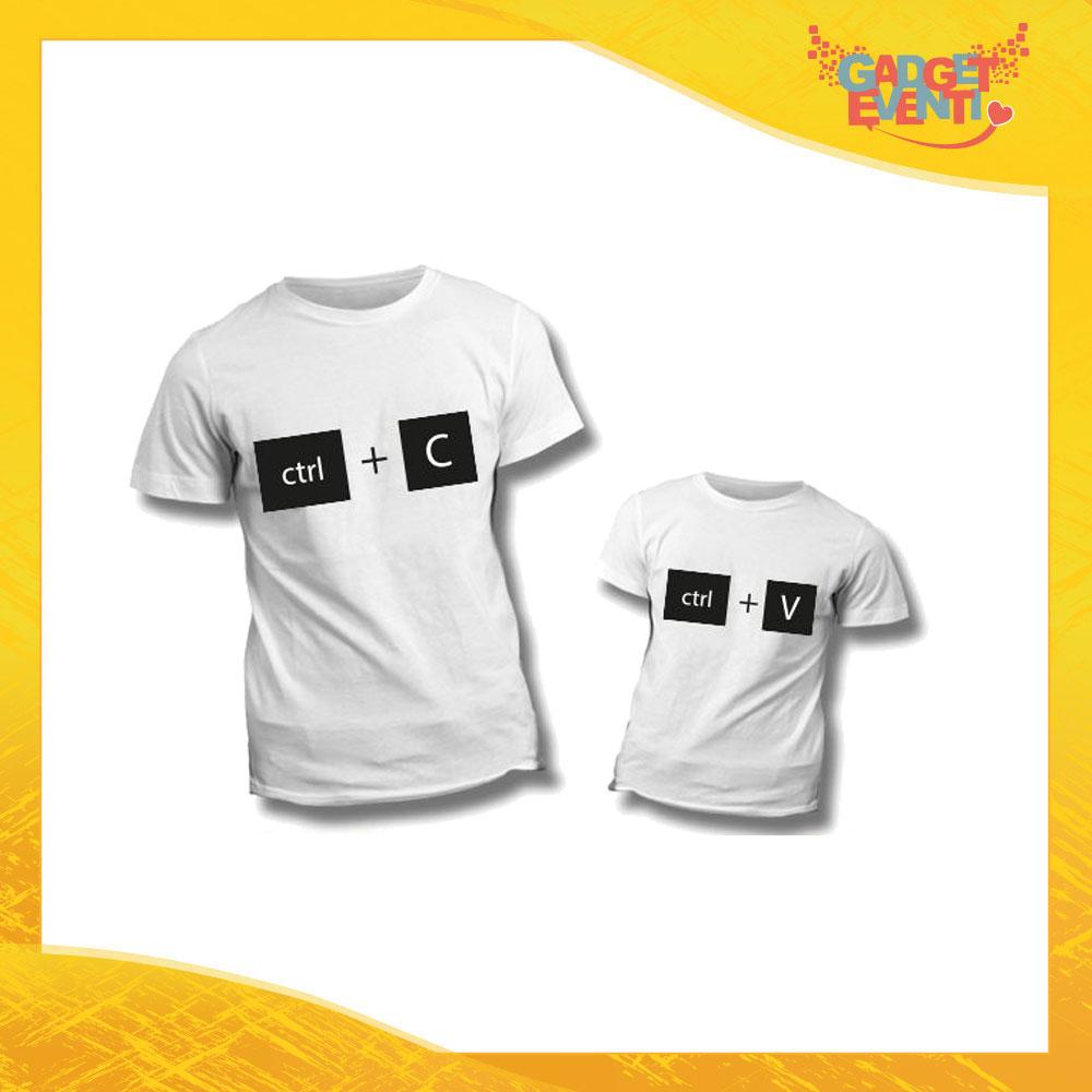 """Coppia di T-Shirt Bianche """"Copia Incolla"""" Maglietta Padre Figlio Maglia Idea Regalo Festa del Papà Gadget Eventi"""