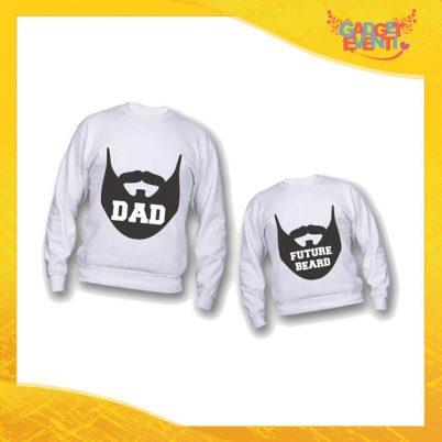 """Coppia di Felpe Bianche """"Dad Future Beard"""" Padre Figlio Idea Regalo Festa del Papà Gadget Eventi"""
