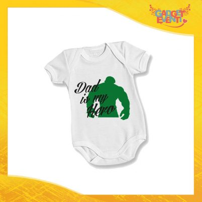 "Body Bimbo Neonato Bodino ""Dad is My Hero Green"" Festa del Papà Idea Regalo Gadget Eventi"