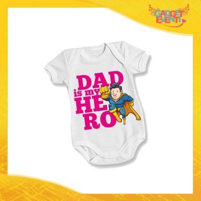 "Body Bimbo Femminuccia Neonato Bodino ""Dad is My Hero Supereroe"" Festa del Papà Idea Regalo Gadget Eventi"