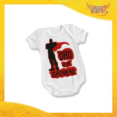 "Body Bimbo Neonato Bodino ""Dad is My Superhero"" Festa del Papà Idea Regalo Gadget Eventi"