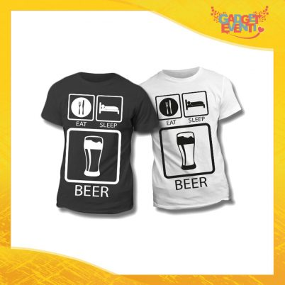 "Maglietta T-Shirt Regalo Festa del Papà ""Eat Sleep Beer"" Gadget Eventi"