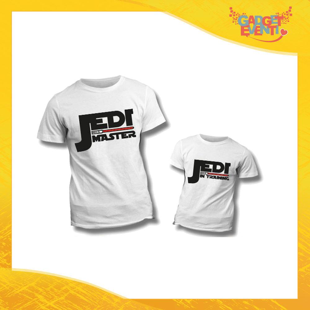 """Coppia di T-Shirt """"Jedi Master Training"""" Maglietta Padre Figlio Maglia Idea Regalo Festa del Papà Gadget Eventi"""