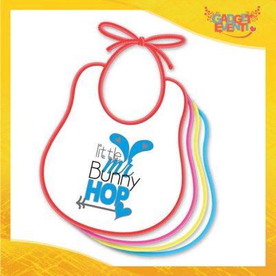 """Bavetto Bavaglino Bimbo Maschietto """"Little Bunny Hop"""" idea regalo Pasqua Gadget Eventi"""