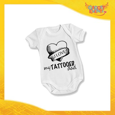 "Body Bimbo Neonato Bodino ""Love My Tattoed Dad"" Festa del Papà Idea Regalo Gadget Eventi"